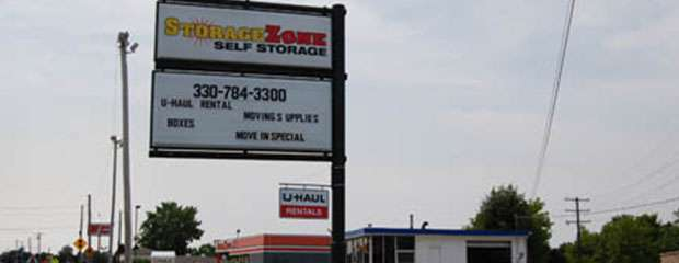 Akron, OH storage facility sign for Storage Zone Self Storage